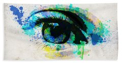 Blue Eye Watercolor Beach Towel