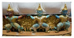 Blue Faced Men On Golden Buddha Statue, Tiger Cave Temple Beach Towel