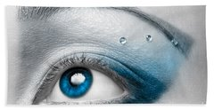 Blue Female Eye Macro With Artistic Make-up Beach Towel