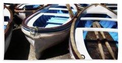 Blue Fishing Boats Beach Towel