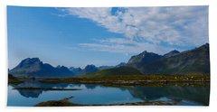 Blue Fjord Beach Sheet by Tamara Sushko