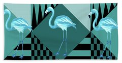 Blue Flamingo Beach Towel