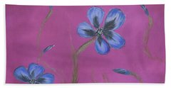 Blue Flower Magenta Background Beach Towel
