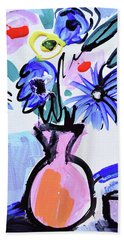 Blue Flowers And Coffee Cup Beach Towel