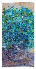 Blue Flowers In A Vase Beach Towel