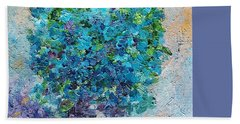 Blue Flowers In A Vase Beach Towel by AmaS Art