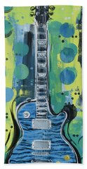 Blue Gibson Guitar Beach Towel