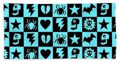Blue Goth Punk Checkers Beach Towel by Roseanne Jones