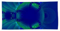 Blue Green Globe Luminant Fractal Beach Sheet