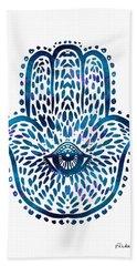Blue Hamsa Hand Beach Towel