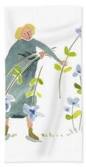 Beach Towel featuring the painting Blue Harvest by Leanne WILKES