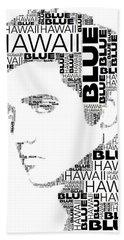 Blue Hawaii Elvis Presley Wordart Beach Towel
