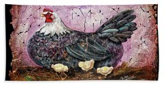 Blue Hen With Chicks Fresco Black Background Beach Towel
