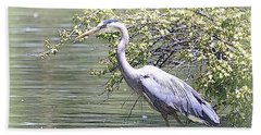 Blue Heron Beach Towel by Clarice  Lakota