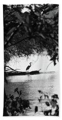 Blue Heron In Black And White. Beach Towel