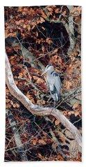 Blue Heron In Tree Beach Towel