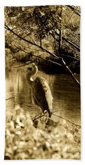 Great Blue Heron Beach Sheet by Janice Spivey
