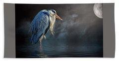 Beach Towel featuring the photograph Blue Heron Moon by Brian Tarr