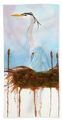 Blue Heron Nesting Beach Towel