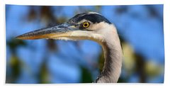 Blue Heron Profile Beach Sheet by Kathy Eickenberg