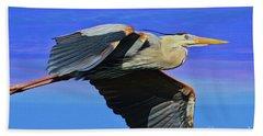 Beach Sheet featuring the painting Blue Heron Series Fly by Deborah Benoit