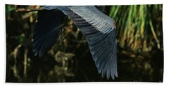 Beach Towel featuring the photograph Blue Heron Series The Pond by Deborah Benoit
