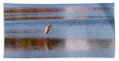 Blue Heron Standing In A Pond At Sunset Beach Towel