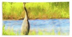 Blue Heron Standing Tall And Alert Beach Towel