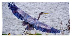 Blue Heron  Take Off  Beach Towel by Peggy Franz