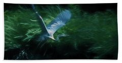 Blue Heron Take Off Beach Towel