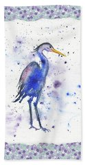 Beach Towel featuring the painting Blue Heron Watercolor by Irina Sztukowski