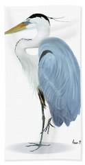 Blue Heron With No Background Beach Towel