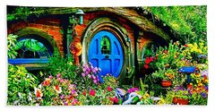Blue Hobbit Door Beach Towel