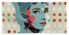 Blue Holly - Audrey Hepburn Spot Painting Beach Towel by Big Fat Arts
