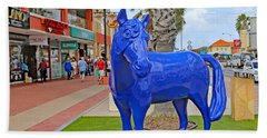 Blue Horse In Orangjetad, Aruba Beach Sheet by Allan Levin