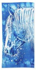 Beach Sheet featuring the painting Blue Horse by Zaira Dzhaubaeva