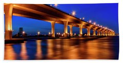 Blue Hour At Roosevelt Bridge In Stuart Florida  Beach Sheet by Justin Kelefas