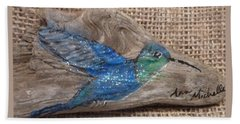 Blue Hummingbird Beach Towel