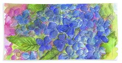 Beach Sheet featuring the painting Blue Hydrangea by Cathie Richardson