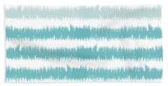 Blue Ikat Stripe- Art By Linda Woods Beach Towel