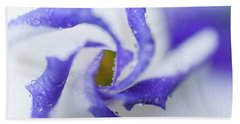 Beach Sheet featuring the photograph Blue Inspiration. Lisianthus Flower Macro by Jenny Rainbow