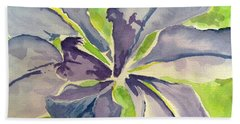 Blue Iris Beach Towel by Holly York