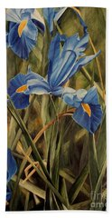 Beach Sheet featuring the painting Blue Iris by Laurie Rohner