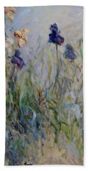 Blue Irises In The Field, Painted In The Open Air  Beach Towel