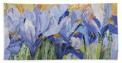 Blue Irises Palette Knife Painting Beach Towel