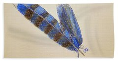 Beach Towel featuring the drawing Blue Jay Feathers by J R Seymour