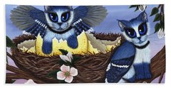 Blue Jay Kittens Beach Towel