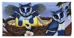 Beach Towel featuring the painting Blue Jay Kittens by Carrie Hawks
