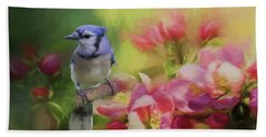Blue Jay On A Blooming Tree Beach Sheet by Eva Lechner