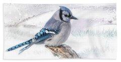 Blue Jay Snow Beach Towel
